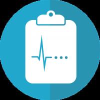 clip board icon with heartbeat symbol